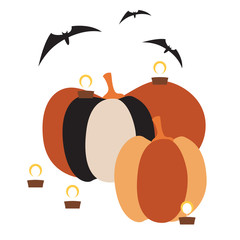 Square card with two huge pumpkins, burning candles around and three bats isolated on a white background