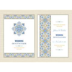 Wedding invitation cards  baroque style blue and yellow. Vintage  Pattern. Retro Victorian ornament. Frame with flowers elements. Vector illustration.