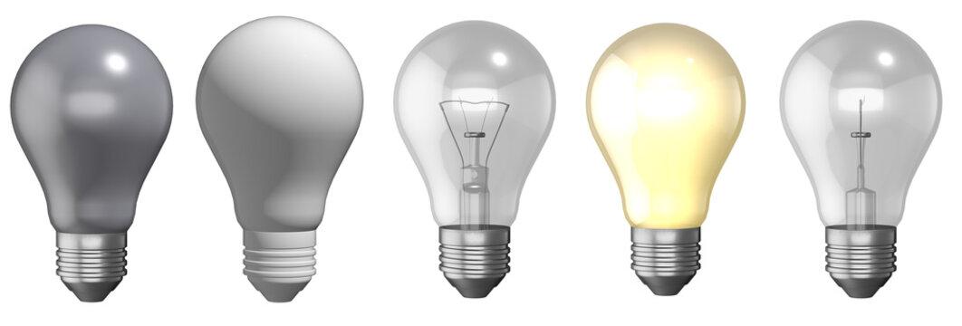 3d set light bulb
