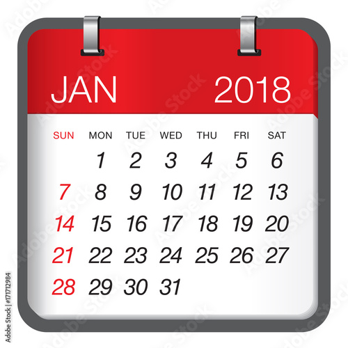 "January 2018 calendar vector illustration"" Stock image and royalty ..."