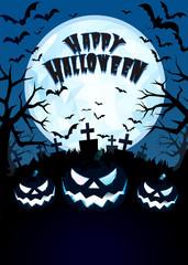 Jack on the dark grave forest illustration for halloween