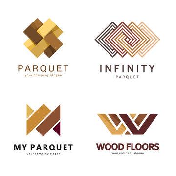 Vector abstract logo template. Logo design for parquet, laminate, flooring, tiles