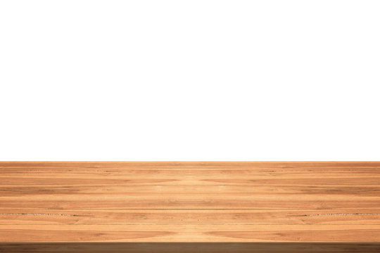 Empty teak wood table top on white background,space montage you product