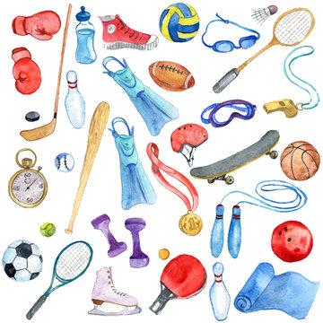 watercolor sport doodle set