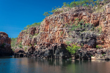 End point of Katherine Gorge river cruise in the dry season.in Northern Territory, Australia