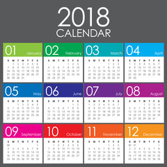 Year 2018 calendar vector design template