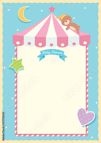 Illustration vector of baby shower template design with bear illustration vector of baby shower template design with bear sleeping on roof tent moon star maxwellsz