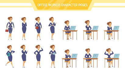Office Worker Female ale  Poses Set