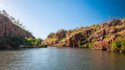 Katherine River Gorge with its rocky sandstone cliffs and beautiful scenery is one of the best attractions in Nitmiluk National Park, Northern Territory, Australia.