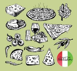Hand drawn italian food