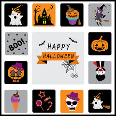 Orange, black, and purple Halloween symbols, icon and characters for decoration which can be arranges good for background