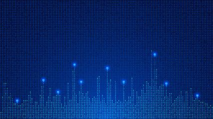 digital background of glowing numbers. digital matrix. Big data. VECTOR