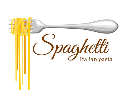 Pasta roll on the fork. Italian pasta with fork silhouette. Black fork with spaghetti on the yellow background. Hand holding a fork with spaghetti.