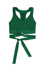 green sports bra with ribbon band isolated on white background