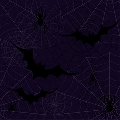 Halloween seamless wallpaper with bats and spiders, vector illustration