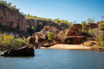 Sand bank at the beautiful Katherine River Gorge, Northern Territory, Australia
