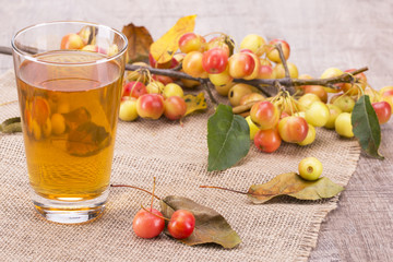 glass with apple juice and a branch with small apples on a wooden background.