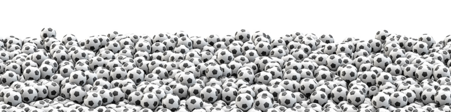 Soccer balls panorama / 3D illustration of panoramic view of hundreds of soccer balls