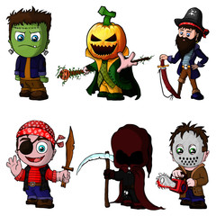 Set of cartoon characters for halloween