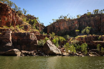 Rocky cliff face at Katherine River Gorge in Nitmiluk National Park, Northern Territory, Australia