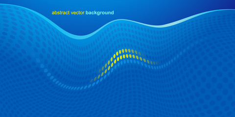 Waves and dots on a light blue background with a yellow accent. Modern vector design.