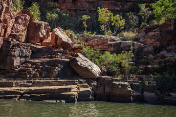 Rocky cliff face close-up at Katherine River Gorge in Northern Territory, Australia