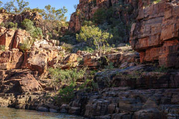 Rocky cliff face at Katherine River Gorge in Nitmiluk National Park, Australia