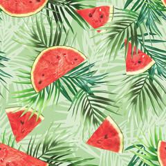 Watermelon seamless pattern. Watercolor background.
