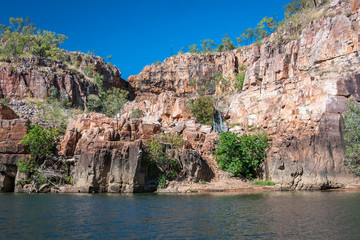 Safe oasis for a swim during the Katherine River Gorge cruise in Nitmiluk National Park, Australia