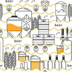 Beer tap, mug, glass with beer, kegs, bottles, equipment for brewery, hops, wheat. Linear seamless pattern on white background. Vector illustration.