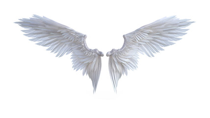 3d Illustration Angel wings, white wing plumage isolated on white background. Wall mural
