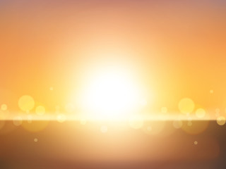 Blur landscape & shining sun background. Abstract design. Vector illustration