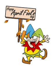 Happy Funny Jester Holding Banner Vector