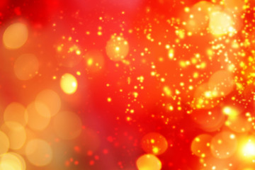 Christmas abstract red lights background. Festive xmas abstract background with bokeh defocused lights and stars. Card or invitation for your design.