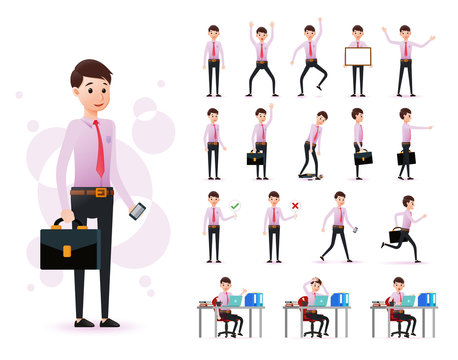 Male Clerk 2D Character Ready to Use Set Wearing Long Sleeve and Tie Standing and Sitting Position with Different Facial Expression  in Isolated White Background. Vector Illustration.
