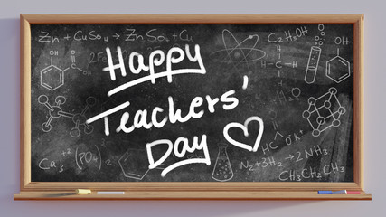 3D render of a blackboard with Happy teachers day text
