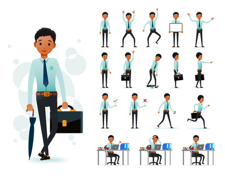 Male Black African Clerk 2D Character Ready to Use Set Wearing Long Sleeve and Tie Standing and Sitting Position with  Facial Expressions and Posture in White Background. Vector Illustration.