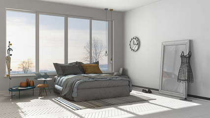 Unfinished project of colored modern bedroom with big panoramic window, sunset, sunrise, architecture minimalist interior design