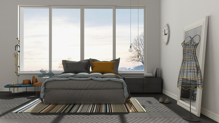Colored modern white and gray bedroom with big panoramic window, sunset, sunrise, architecture minimalist interior design
