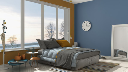 Colored modern blue and yellow bedroom with big panoramic window, sunset, sunrise, architecture minimalist interior design