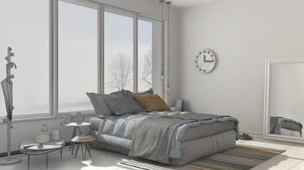 Unfinished project of modern bedroom with big panoramic window, architecture minimalist interior design