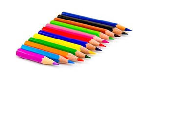 Multicolored pencils isolated on white background. School supplies.