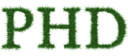 Phd - 3D rendering fresh Grass letters isolated on whhite background.