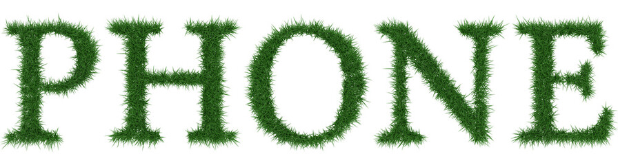 Phone - 3D rendering fresh Grass letters isolated on whhite background.