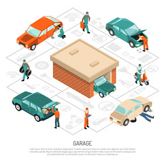 Garage Isometric Composition
