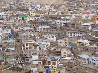 Leh City View from Mountain Top, Ladahk , Kashmir, India