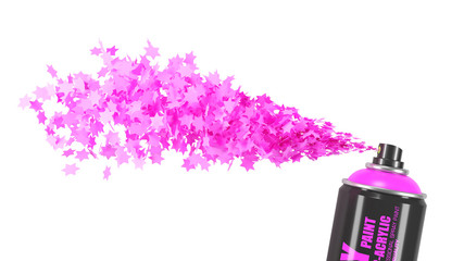 Stream pink stars from spray paint can isolated on white background