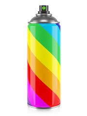 Spray paint with rainbow stripes colors isolated on white background