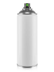White aerosol spray can isolated on white background