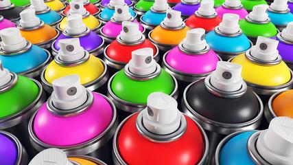 Set of color paint cans